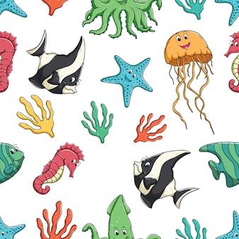 シームレスなパターンでかわいい海の動物 Premiumベクター