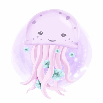 Cute sea animal smile jelly fish