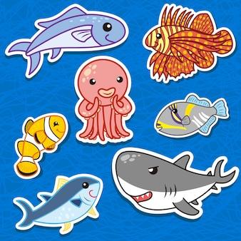 かわいい海の動物のステッカー Premiumベクター