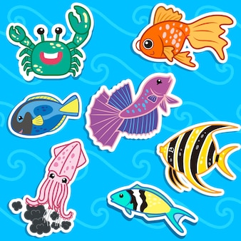 かわいい海の動物のステッカー