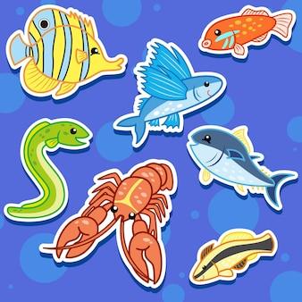Cute sea animal stickers