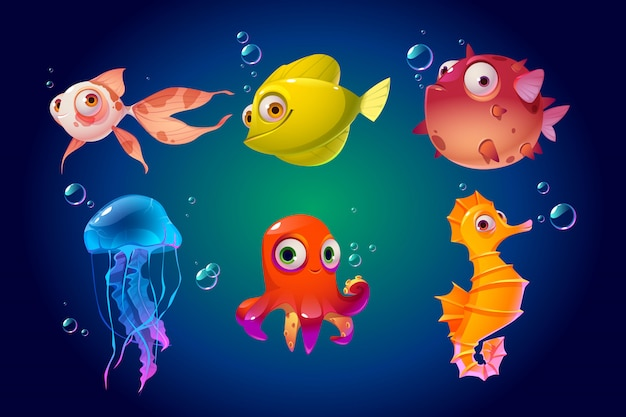 Cute sea animals, fish, octopus, jellyfish, puffer