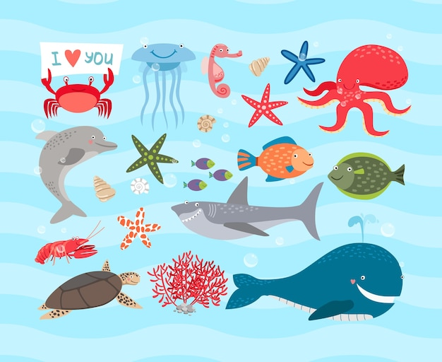 Cute sea animals illustration set