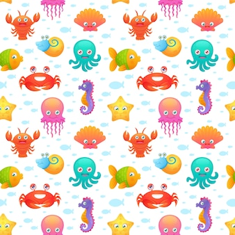 Cute sea animals seamless pattern