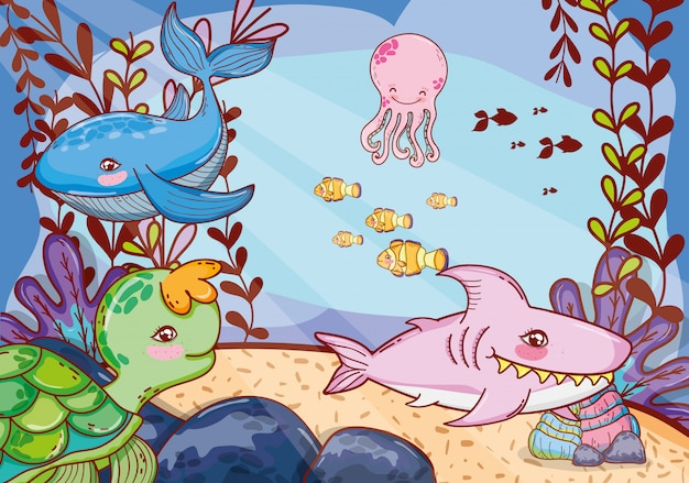 Cute sea animals with seaweed plants