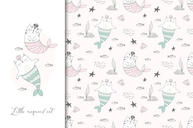 Cute sea cats illustration card and seamless pattern.