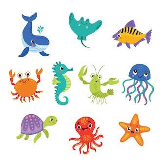 Симпатичные морские персонажи векторные иллюстрации