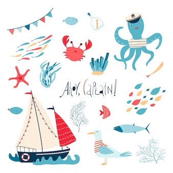 Cute sea collection with sailboat