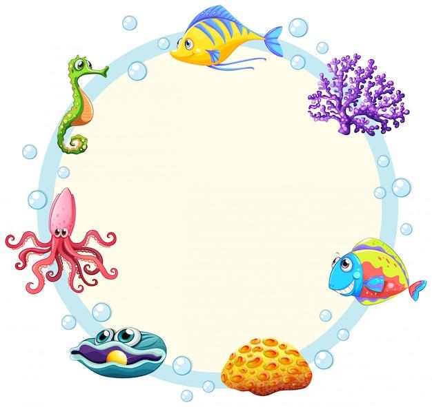 귀여운 바다 생물 테두리