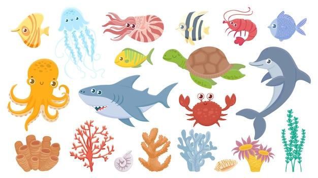 Cute sea fish, aquatic corals, jellyfish and octopus.