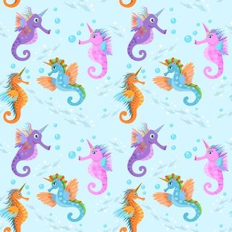 Cute sea horse unicorn in water seamless pattern.