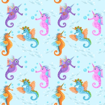 Cute sea horse unicorn in water seamless pattern.