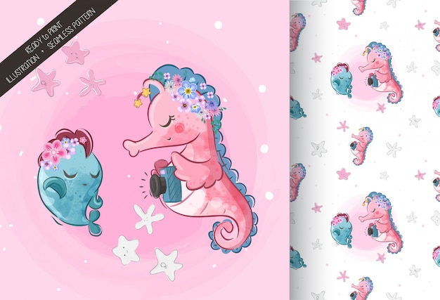 Cute sea horse  with seamless pattern