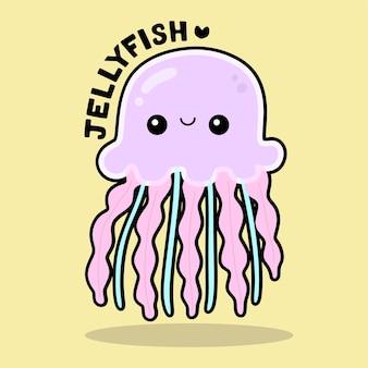 Cute sea life cartoon with vocabulary jellyfish