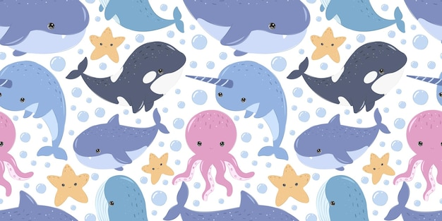 Cute sea life pattern for children fabric wallpaper and many more