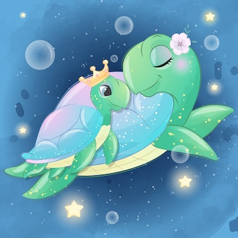 Cute Sea Turtle Mother And Baby Premium Vector