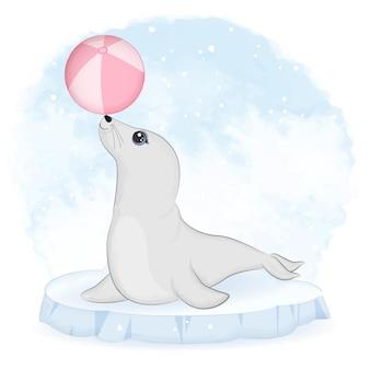 귀여운 물개와 얼음 빙원 만화 동물 수채화에 공