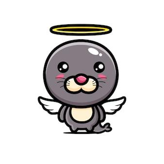 かわいいアザラシの天使のキャラクターデザイン