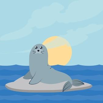바다 장면에서 귀여운 물개 캐릭터