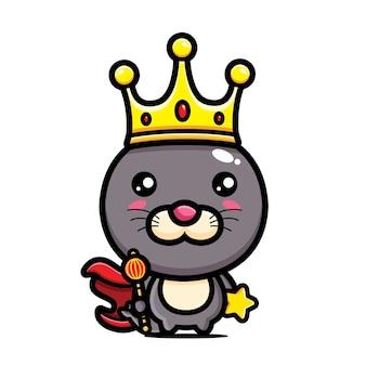 귀여운 물개 왕 캐릭터 디자인