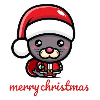 크리스마스를 축하하는 귀여운 물개