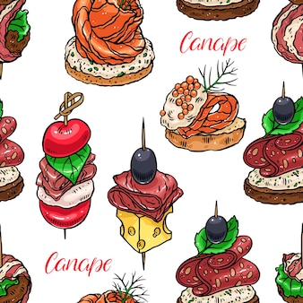 Cute seamless background of different canapes. hand-drawn illustration