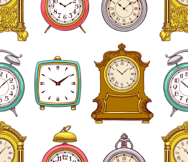 Симпатичные бесшовные фон красочных старинных часов. рисованная иллюстрация