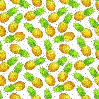 Симпатичный бесшовный фон из спелых аппетитных ананасов