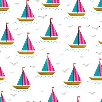 Симпатичный бесшовный фон из парусных кораблей и чаек