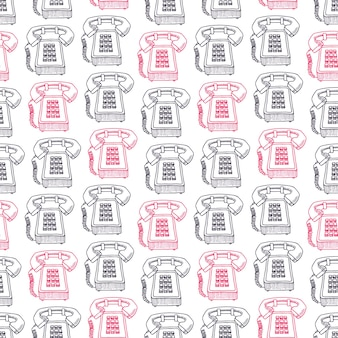 スケッチピンクと黒のビンテージ電話のかわいいシームレスな背景。手描きイラスト