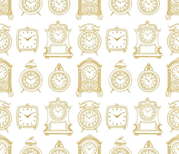 スケッチヴィンテージ時計のかわいいシームレスな背景。手描きイラスト