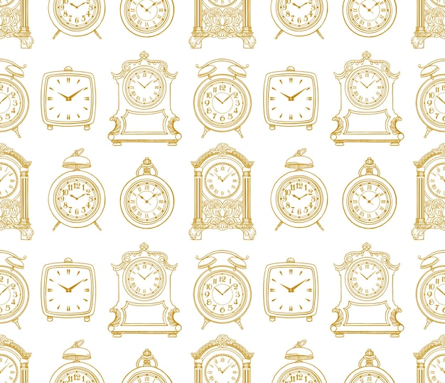 Cute seamless background of sketch vintage clock. hand-drawn illustration