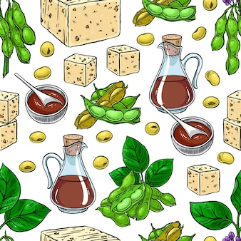 Cute seamless background of soybeans soy sauce and tofu