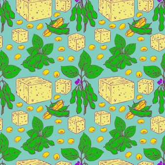 Cute seamless background of soybeans and tofu