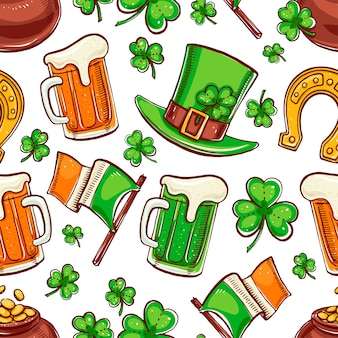 Cute seamless background for st. patrick`s day. hand-drawn illustration.