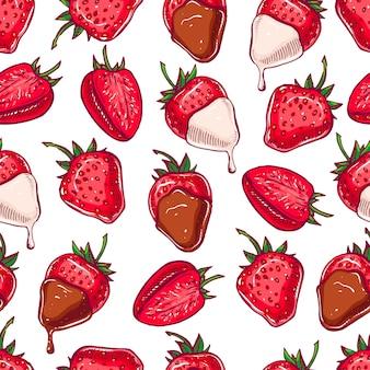 かわいいシームレスな背景。ダークチョコレートとホワイトチョコレートのイチゴ