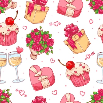 Cute seamless background for valentine's day with a bouquet of roses, champagne glasses and gifts