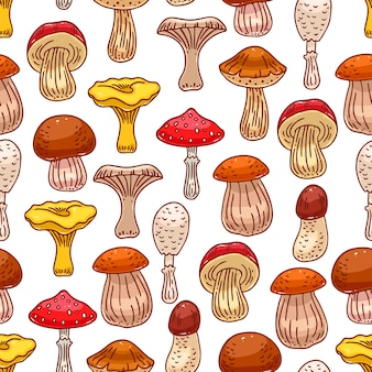 Cute seamless background of various kinds of mushrooms. hand-drawn illustration