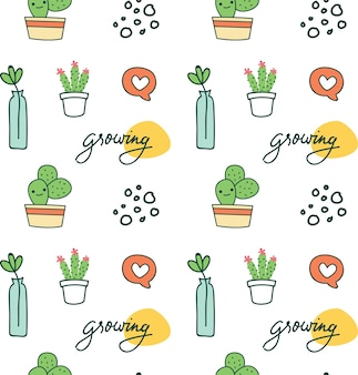 Cute seamless background with cactus