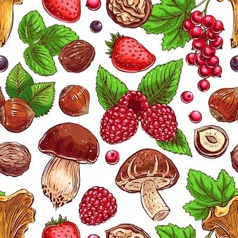 Симпатичный бесшовный фон с красочными спелыми ягодами, орехами и грибами. рисованная иллюстрация