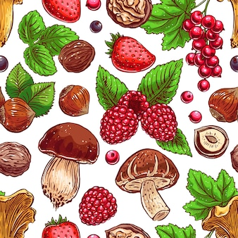 Cute seamless background with colorful ripe berries, nuts and mushrooms. hand-drawn illustration