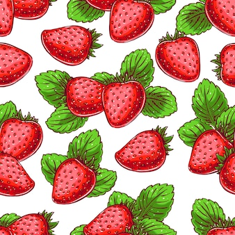 おいしい熟したイチゴとかわいいシームレスな背景。手描きイラスト