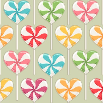Cute seamless background with different color striped candy hearts