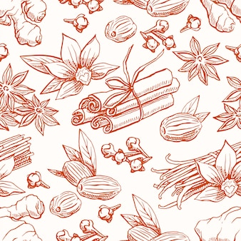 Cute seamless background with different sketch spices. vanilla, star anise, ginger