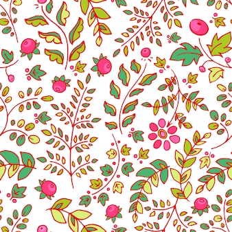 Cute seamless background with flowers leaves and berries