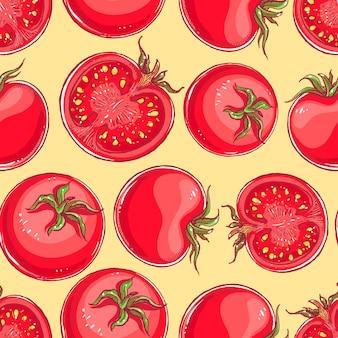 手描きのトマトとかわいいのシームレスな背景