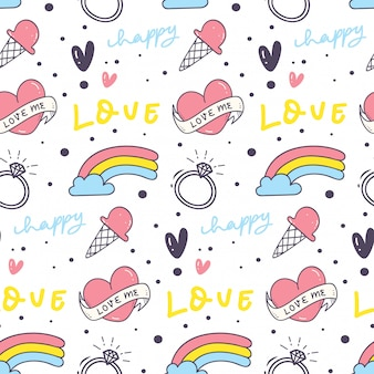 Cute seamless background with heart and rainbow