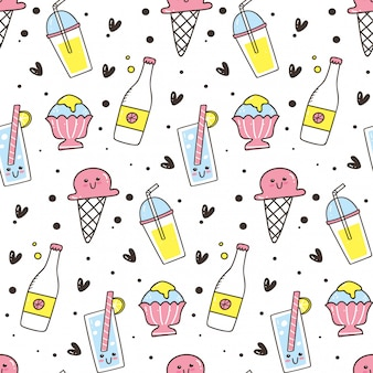 Cute seamless background with ice cream