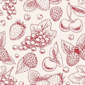 Cute seamless background with pink ripe berries and leaves. hand-drawn illustration