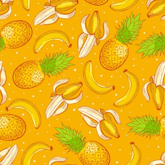 Cute seamless background with ripe appetizing pineapples and bananas